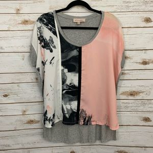 Philosophy Abstract Watercolor Short Sleeve Blouse